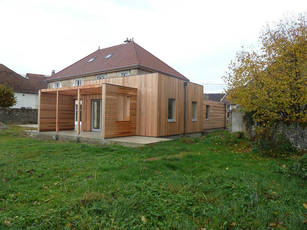 Extension de construction en ossature bois atelier for Construction extension ossature bois