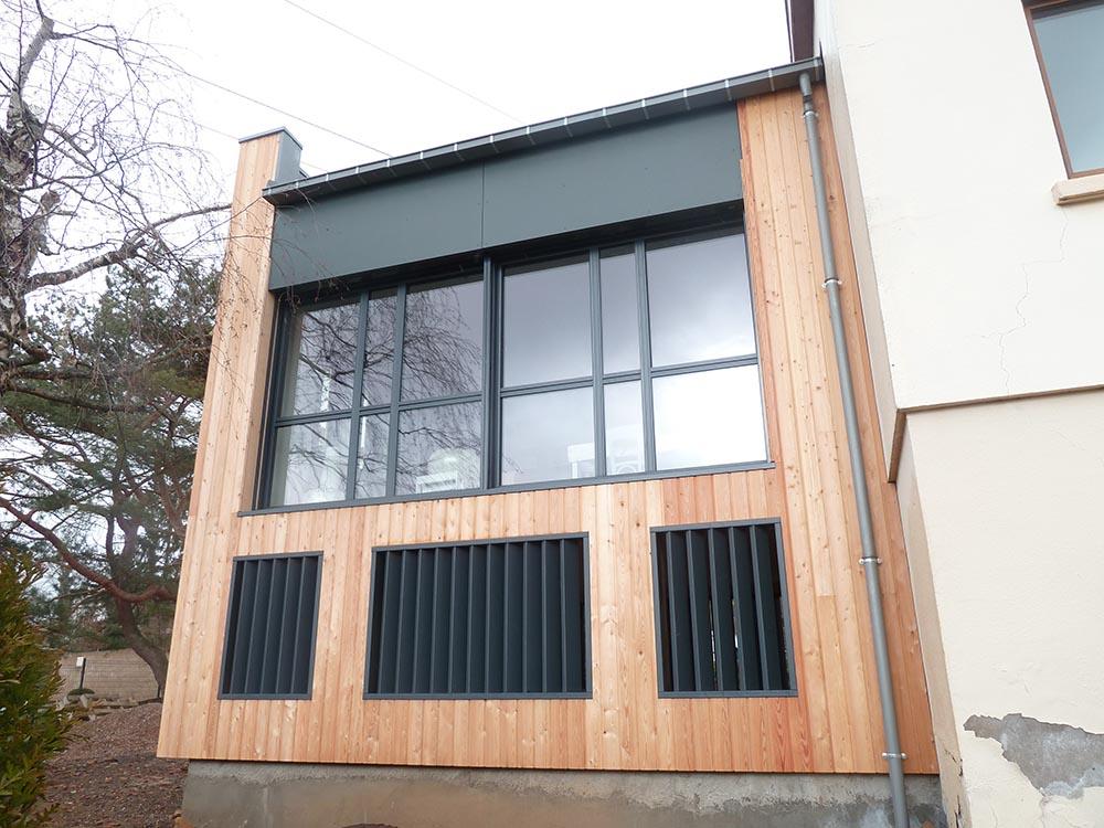 extension de construction en ossature bois atelier construction maison bois. Black Bedroom Furniture Sets. Home Design Ideas